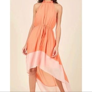 Liza Luxe 2X coral orange flowing dress